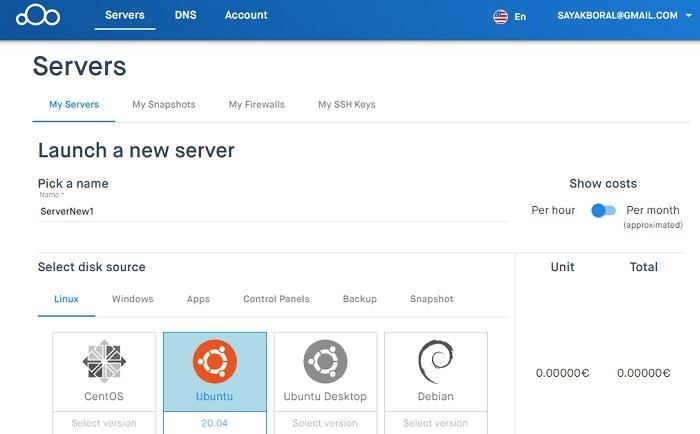 Clouding.io सर्वर नाम 1 चुनें
