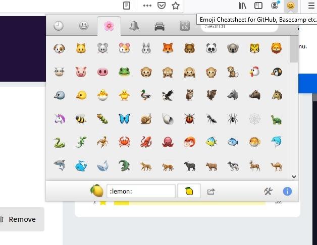 फ़ायरफ़ॉक्स सामाजिक एक्सटेंशन Emojis 1
