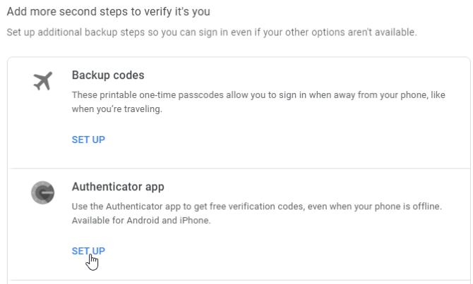 Google Authenticator Code Setup