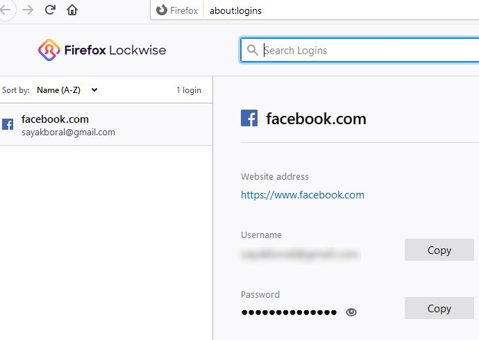 Kata Sandi Peramban Dots Firefox Disimpan