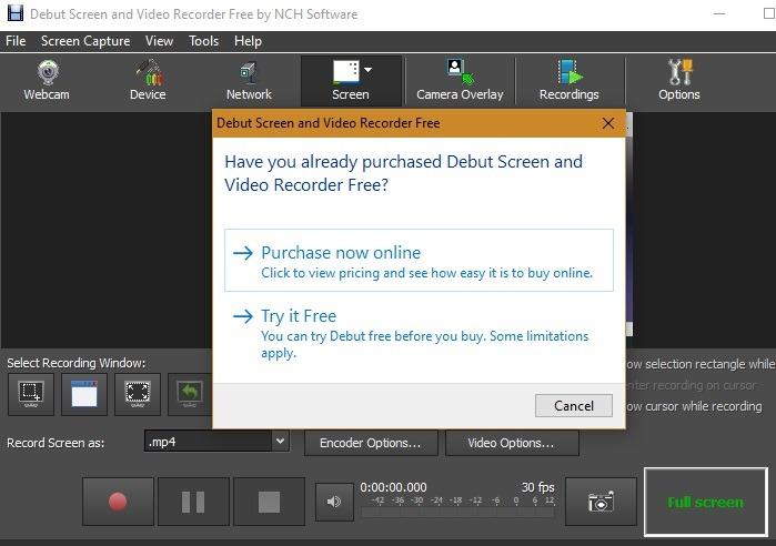 Layar Debut Perekam Layar Windows10