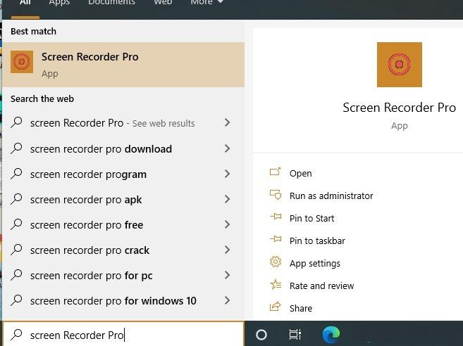 Peluncuran Pro Perekam Layar Windows10
