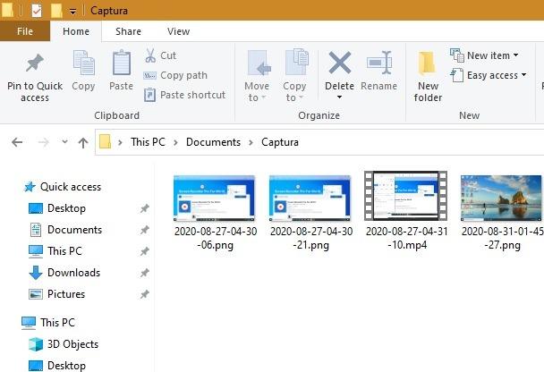 Folder Output Pro Perekam Layar Windows10