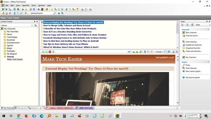 أفضل قارئ Rss لنظام التشغيل Windows Awasu