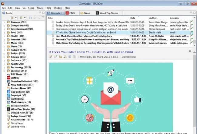 أفضل قارئ Rss لنظام التشغيل Windows Rssowl
