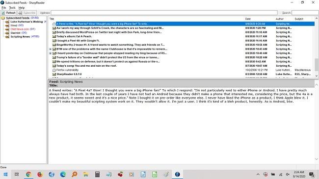 أفضل قارئ Rss لنظام Windows Sharpreader