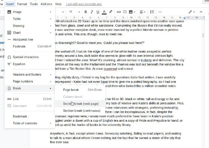 صورة توضح خيارات فواصل الأقسام في محرر مستندات Google.
