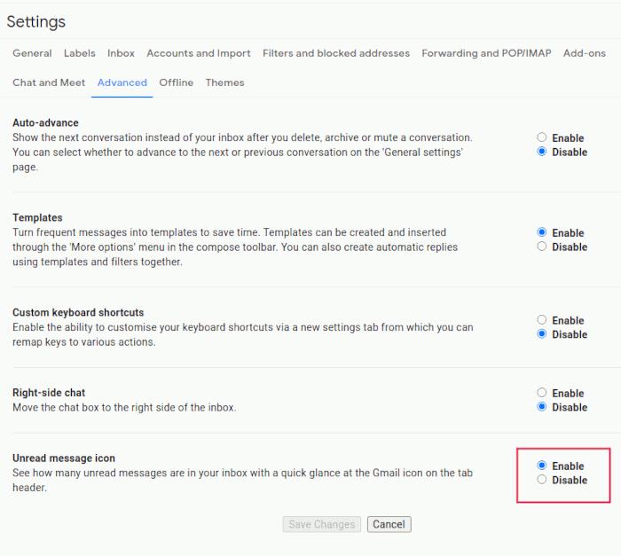 إعدادات Gmail رمز Gmail غير المقروء