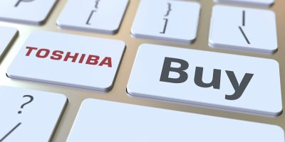 Keyboard With Toshiba Company Logo And Buy Text On The Keys. Editorial Conceptual 3d Rendering