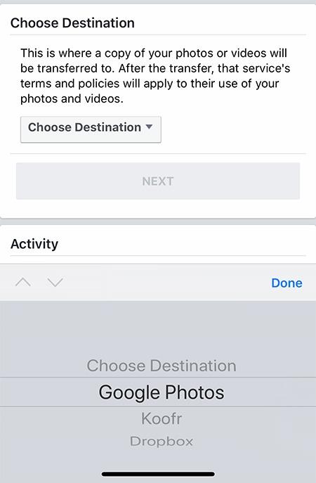 स्थानांतरण Facebook तस्वीरें वीडियो ऐप गंतव्य चुनें