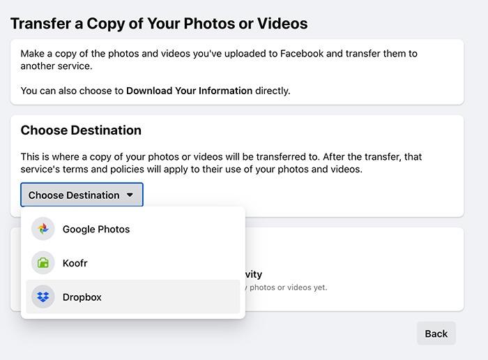 स्थानांतरण Facebook तस्वीरें वीडियो गंतव्य चुनें