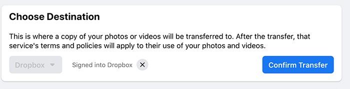 स्थानांतरण फेसबुक तस्वीरें वीडियो स्थानांतरण की पुष्टि करें