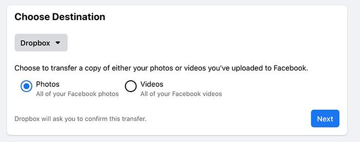 फेसबुक तस्वीरें वीडियो स्थानांतरण