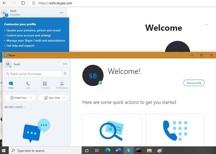 विंडोज इंस्टेंस वेब ब्राउज़र स्काइप