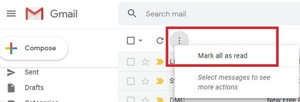सभी अपठित ईमेल को जीमेल में पढ़ें और उन्हें हटाएं मार्क पढ़ें