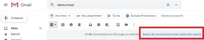 सभी अपठित ईमेल को Gmail में पढ़ें और उन्हें हटाएं मार्क खोज चयन को चिह्नित करें