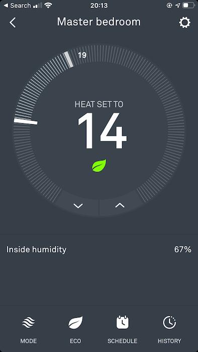 """لعرض تقرير استخدام الطاقة لمنظم حرارة معين ، انقر على """"السجل""""."""