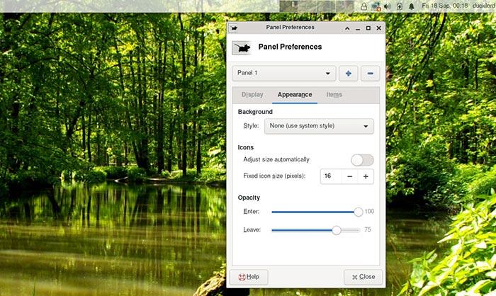 Xfce Transparent Panels Terminal Opacity Test Value