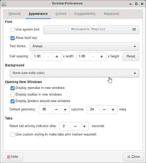 Xfce Transparent Panels Terminal Prefs Appearance