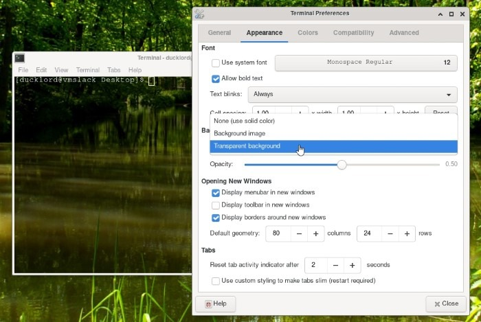 Xfce Transparent Panels Terminal Prefs Transparent Backrgound