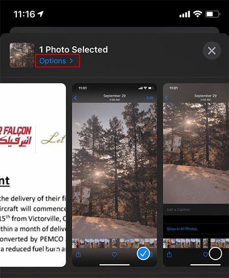 إضافة تعليق الصور خيارات Ios
