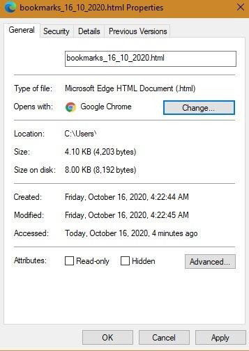 क्रोम बुकमार्क एचटीएमएल फ़ाइलें