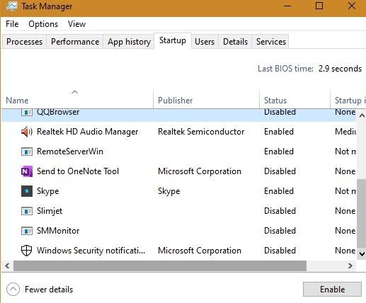 Keyloggers بدء تشغيل مدير مهام Windows10
