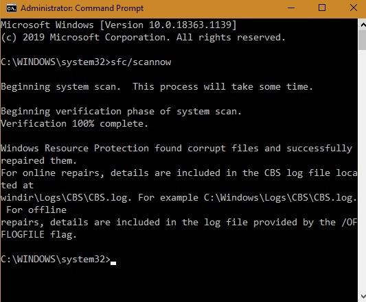 Photos App Sfc Repair Corrupt Files