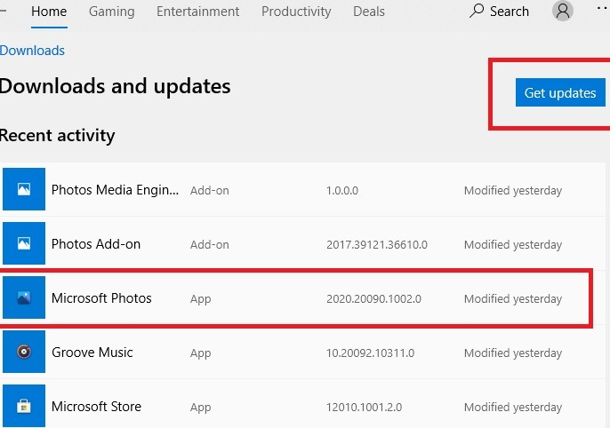 Photos App Get Updates