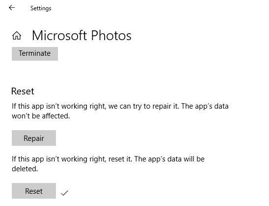 Photos Slow Repair Reset Checkmark