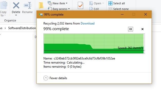 Windows Slowboot सॉफ़्टवेयर पुनर्वितरण फ़ाइलें निकाली गईं