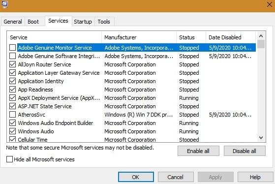 Windows Slowboot Sysconfig सभी सेवाओं का चयन करें