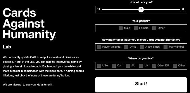मानवता ऑनलाइन लैब के खिलाफ कार्ड खेलने के लिए सर्वश्रेष्ठ साइटें