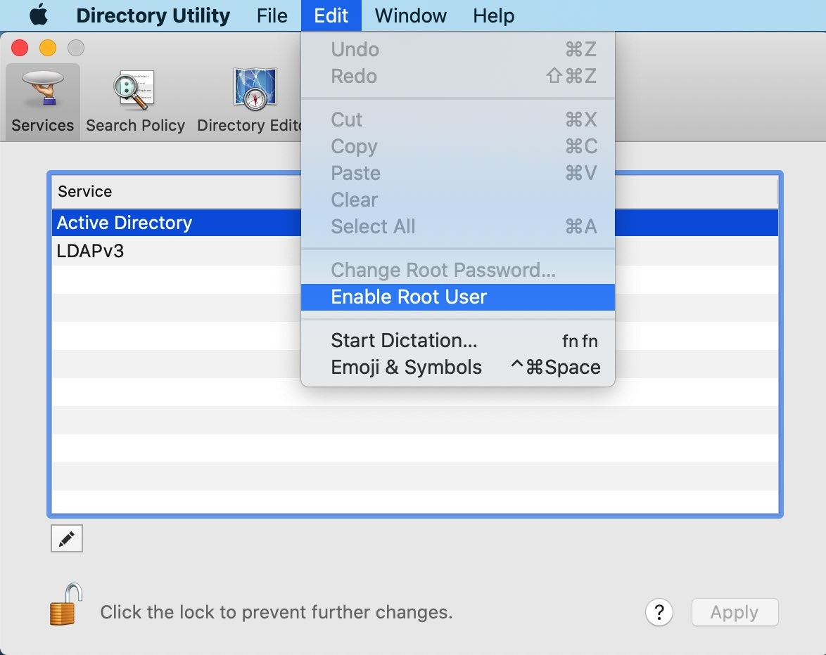 You can enable the root user, via macOS' Directory Utility.