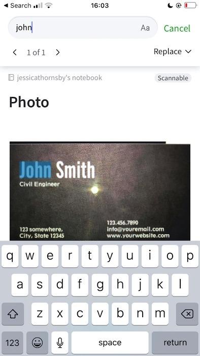 البحث عن نص داخل صورة باستخدام تطبيق Evernote الرئيسي.