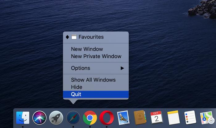 You can force-quit an application, using the macOS Dock.