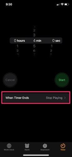 قم بإيقاف تشغيل Music Iphone Timer