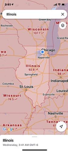 تحديث خرائط جوجل إلينوي