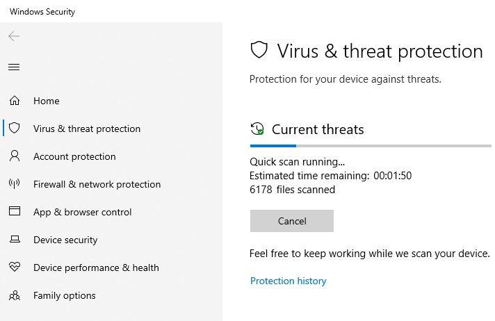जीत पैरामीटर त्रुटि वायरस स्कैन