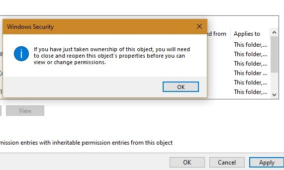 Windowsapps إغلاق وإعادة فتح الكائن