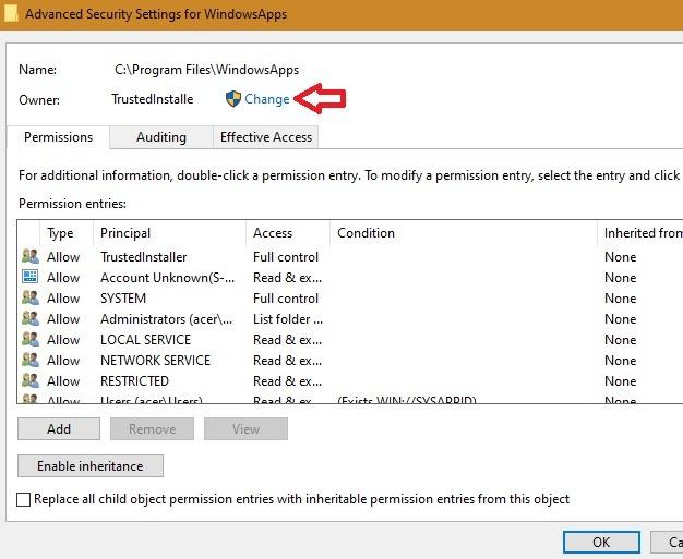 Windowsapps Folde انقر فوق تغيير