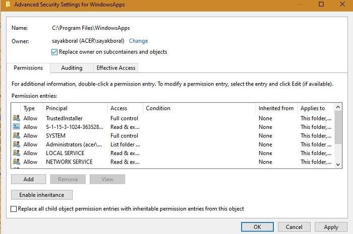 مجلد Windowsapps استبدال المالك الحاويات الفرعية