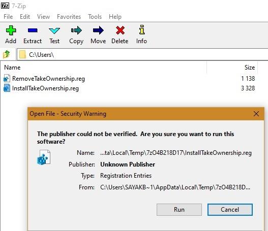 تسجيل ملكية مجلد Windowsapps