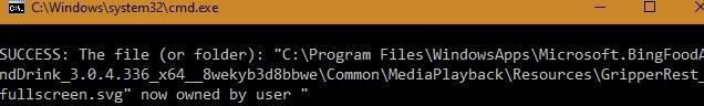 نجاح ملكية مجلد Windowsapps