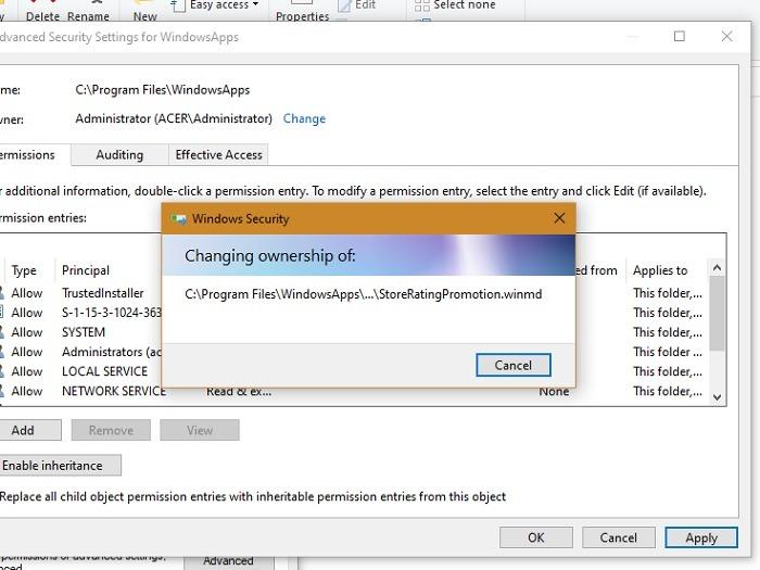 Windowsapps حدد تغيير الملكية 1