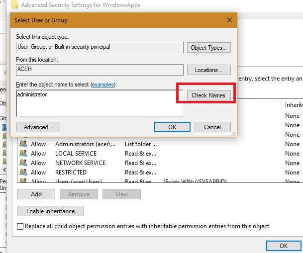 Windowsapps حدد اسم التحقق من المستخدم
