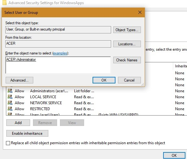 Windowsapps حدد اسم المستخدم المضاف تلقائيًا