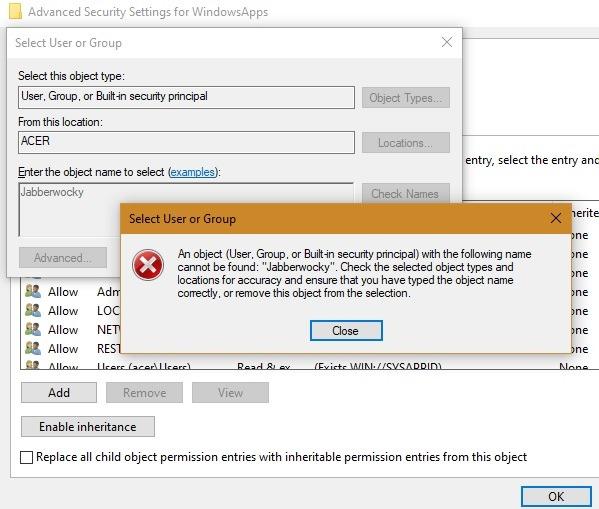 Windowsapps حدد اسم المستخدم اسم غير صحيح