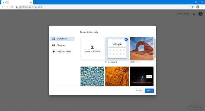 Google खोज पृष्ठभूमि कैसे बदलें छवि क्रोम डेस्कटॉप का चयन करें