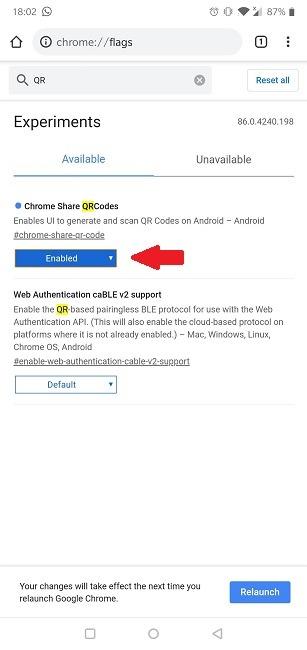 كيفية تمكين رمز الاستجابة السريعة Chrome Chrome Share Mobile